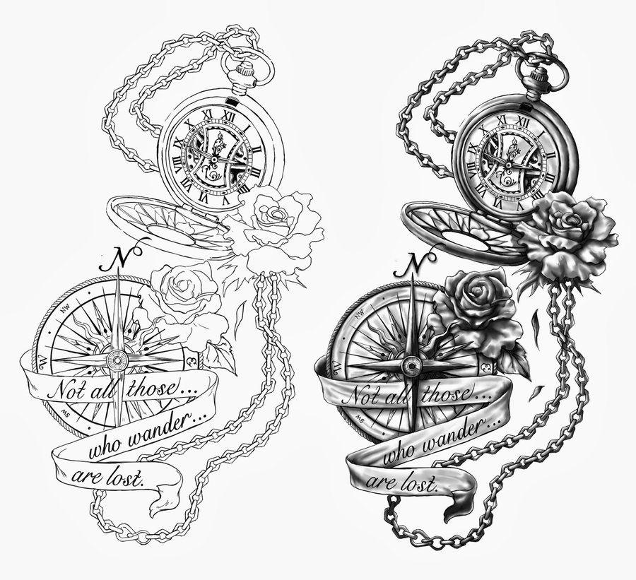 900x821 The Pocket Watch Amp The Compass Cris Luspo Design Tattoos That