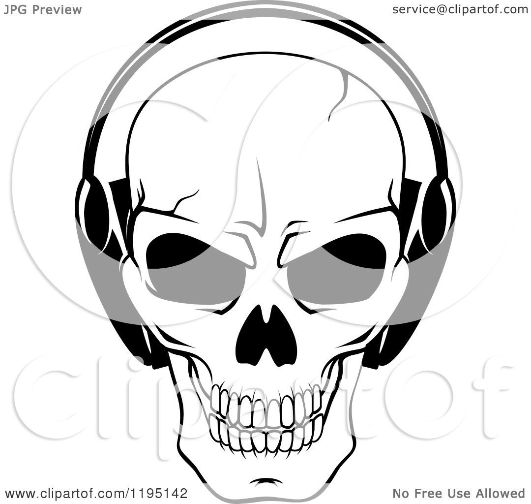 1080x1024 Clipart Of A Black And White Cracked Skull Wearing Headphones