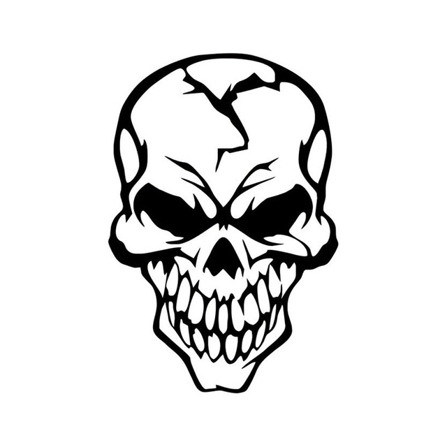 640x640 8.913.2cm Skull Cracked Skull Car Stickers Covering The Body