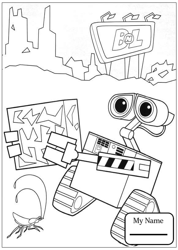 578x810 Coloring Pages Wall E Cartoons Broken Wall E