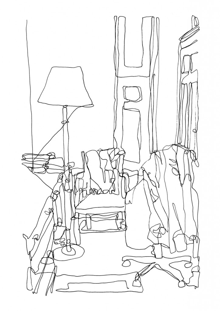 724x1024 Continuous Line Drawing Living Room