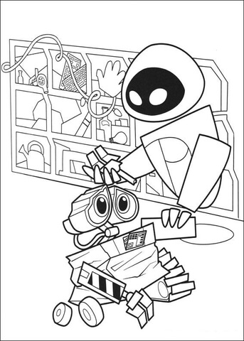 343x480 Broken Wall E Coloring Page Free Printable Coloring Pages