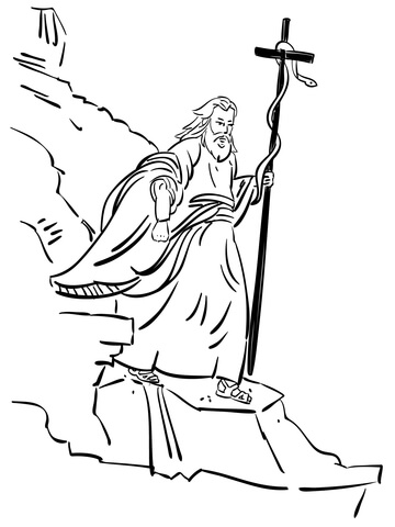360x480 Moses Walking With Bronze Serpent Coloring Page Free Printable