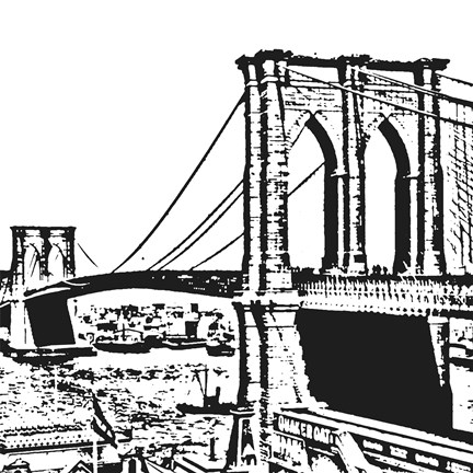 432x432 Black Brooklyn Bridge Fine Art Print By Veruca Salt