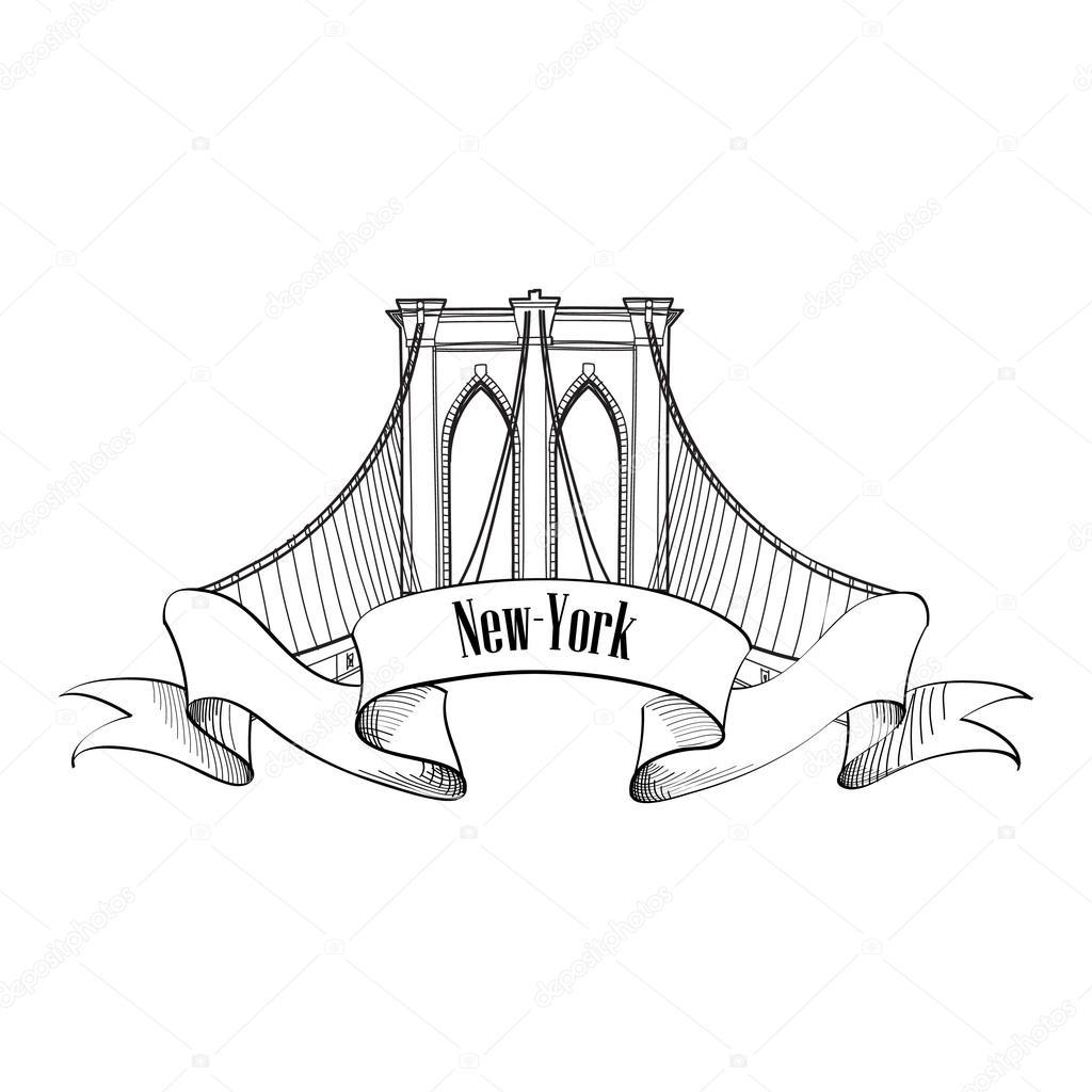 1024x1024 New York Brooklyn Bridge Stock Vector Yokodesign