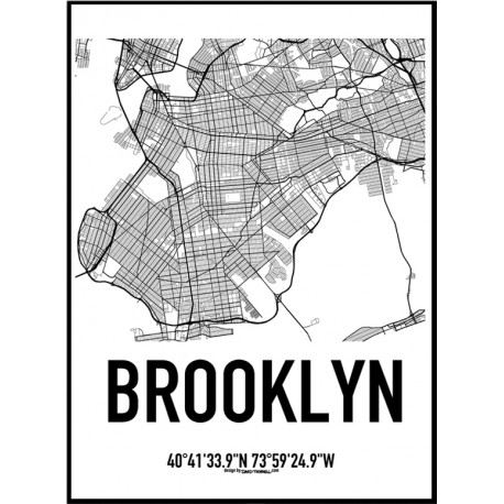 458x458 Brooklyn Map Poster. Find Your Posters