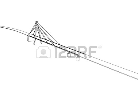 450x338 New York Panorama With Brooklyn Bridge, Vector Outline Sketch