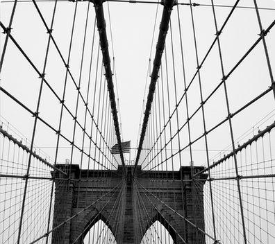 396x352 Brooklyn Bridge, New York City (Black And White) Canvas Prints By