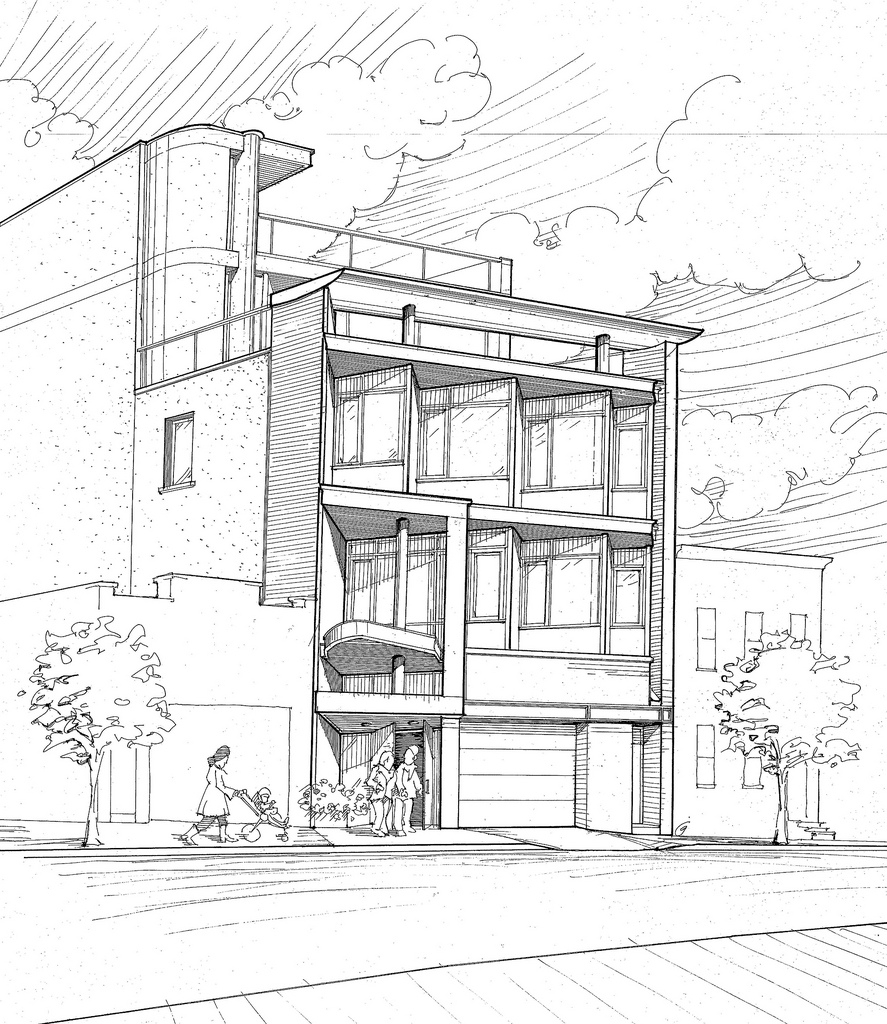 887x1024 Office Building Sketches Brooklyn Office Building Preliminary Bw