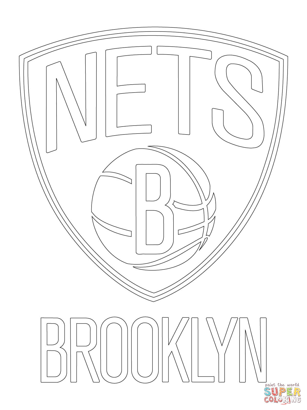 1200x1600 Brooklyn Nets Logo Coloring Page Free Printable Coloring Pages