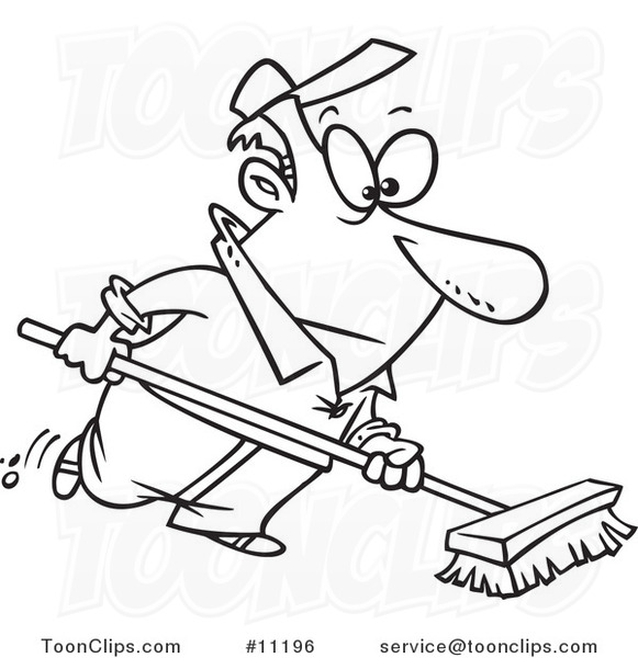 581x600 Cartoon Black And White Line Drawing Of A Guy Using A Push Broom