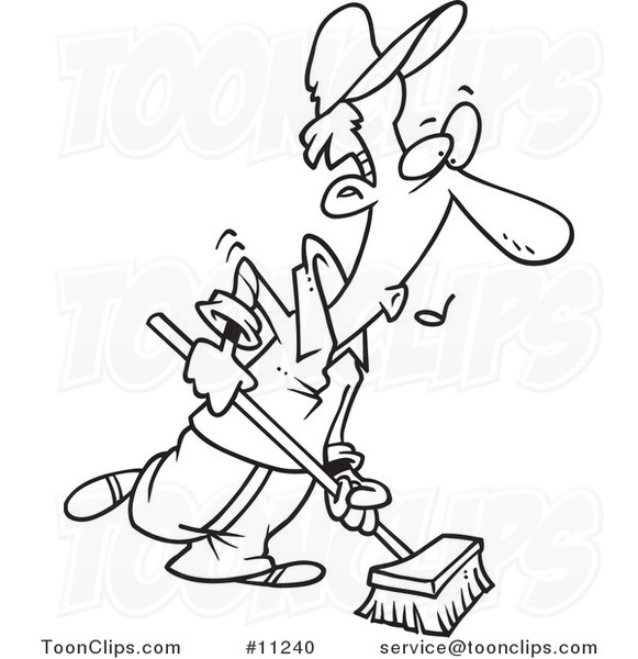 581x600 Cartoon Black And White Line Drawing Of A Janitor Using A Push
