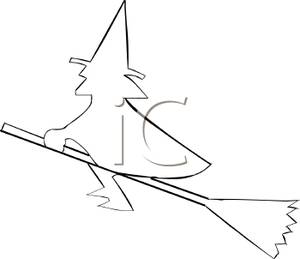 300x259 Outline Of A Witch Riding On Her Broom
