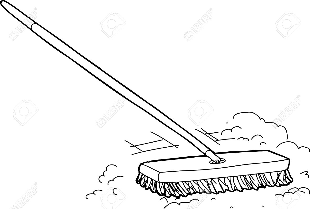 1300x878 Outlined Cartoon Push Broom Sweeping Dust Over White Royalty Free