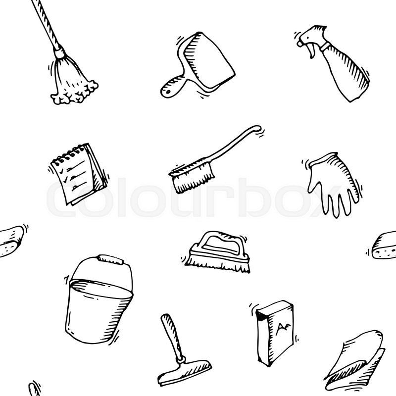 800x800 Seamless Doodle Pattern Of House Cleaning Icons. Clean Symbols