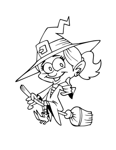 372x480 Smiling Witch On A Broom Coloring Page Free Printable Coloring Pages