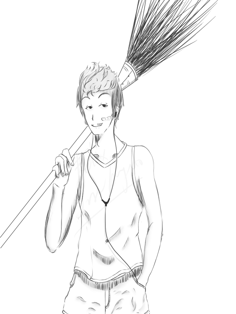 768x1024 Stirring Drawing Of Person With Broom Photos Concept Interior
