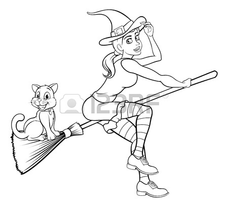 450x408 Cartoon Halloween Witch Flying On Her Broomstick Royalty Free