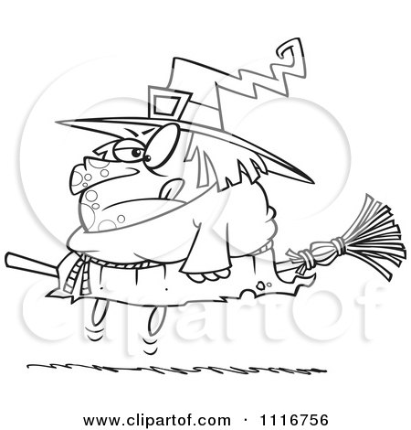 450x470 Cartoon Of An Outlined Halloween Fat Witch On A Broomstick