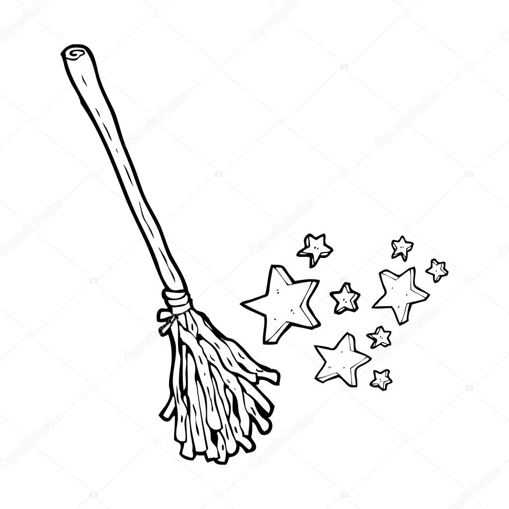 1024x1024 Cartoon Witch Broomstick Stock Vector Lineartestpilot