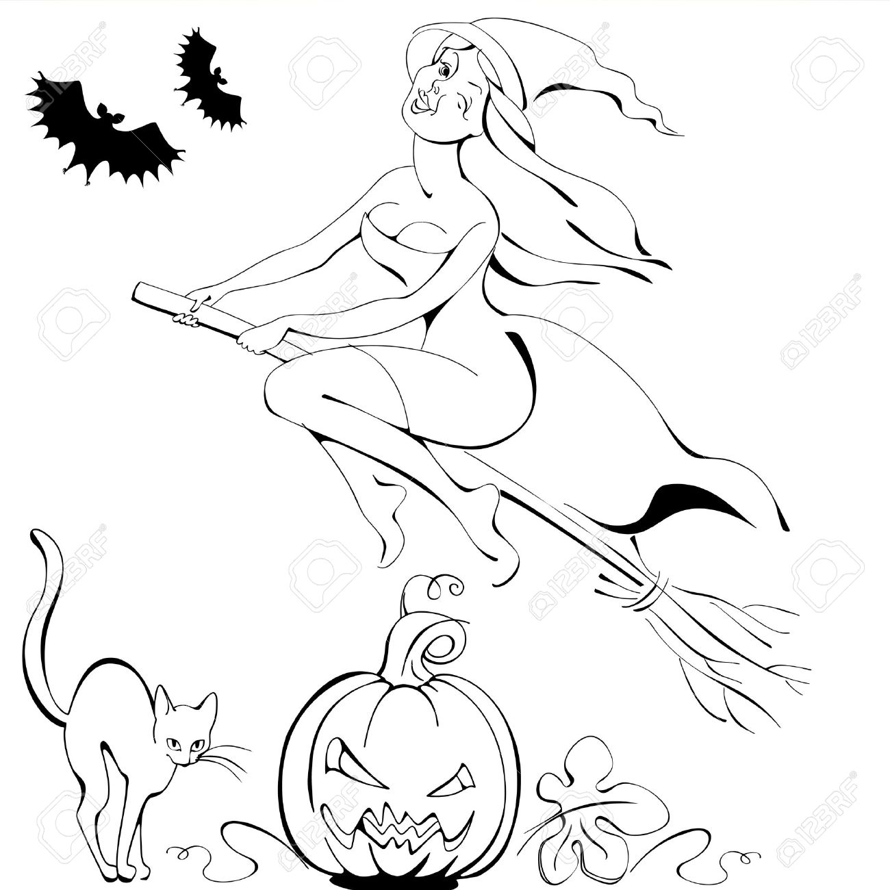 1300x1300 Halloween Symbol Black And White Silhouettes Pumpkin,cat, Bat