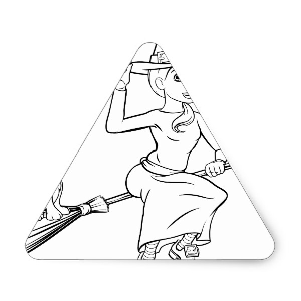 600x600 Halloween Witch Flying On Broomstick Scene Triangle Sticker