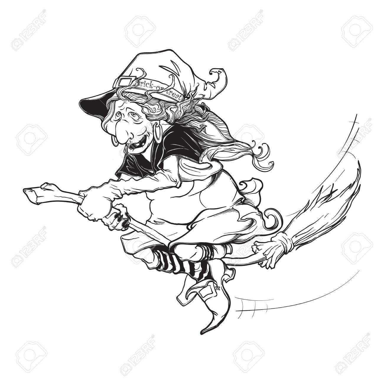 1300x1300 Halloween Witch Riding The Broom. Halloween Character Concept