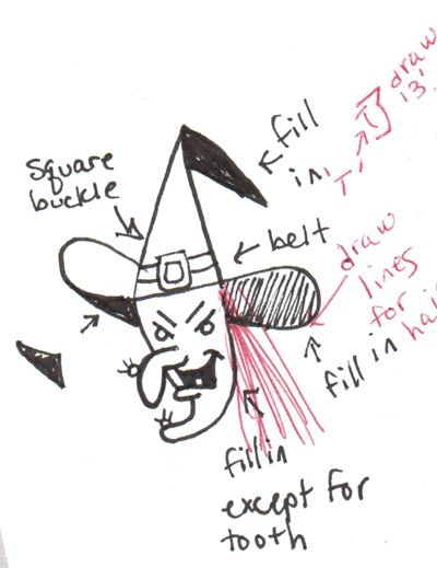 400x519 How To Draw Witch Flying Broomstick Halloween Drawing Tutorial