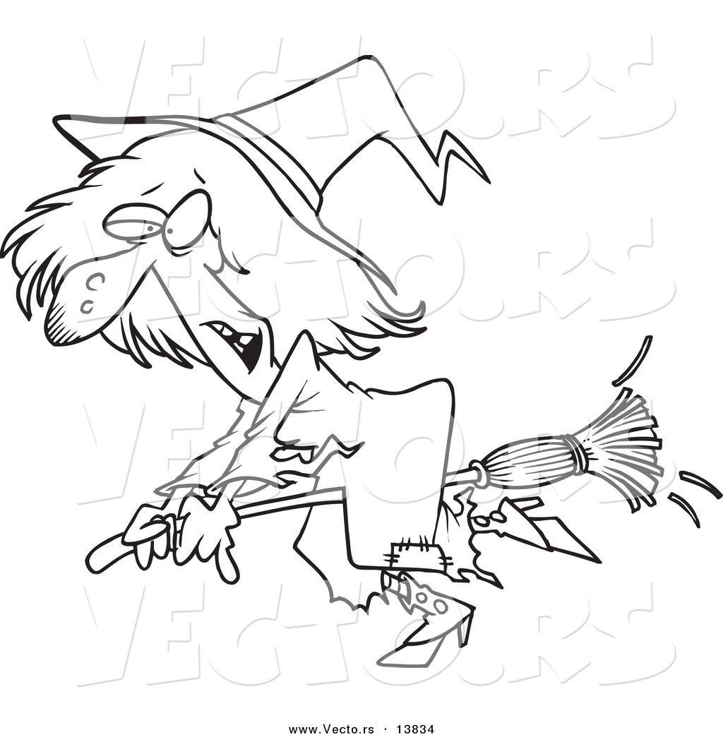 1024x1044 Vector Of A Cartoon Ragged Witch Flying On Her Broomstick