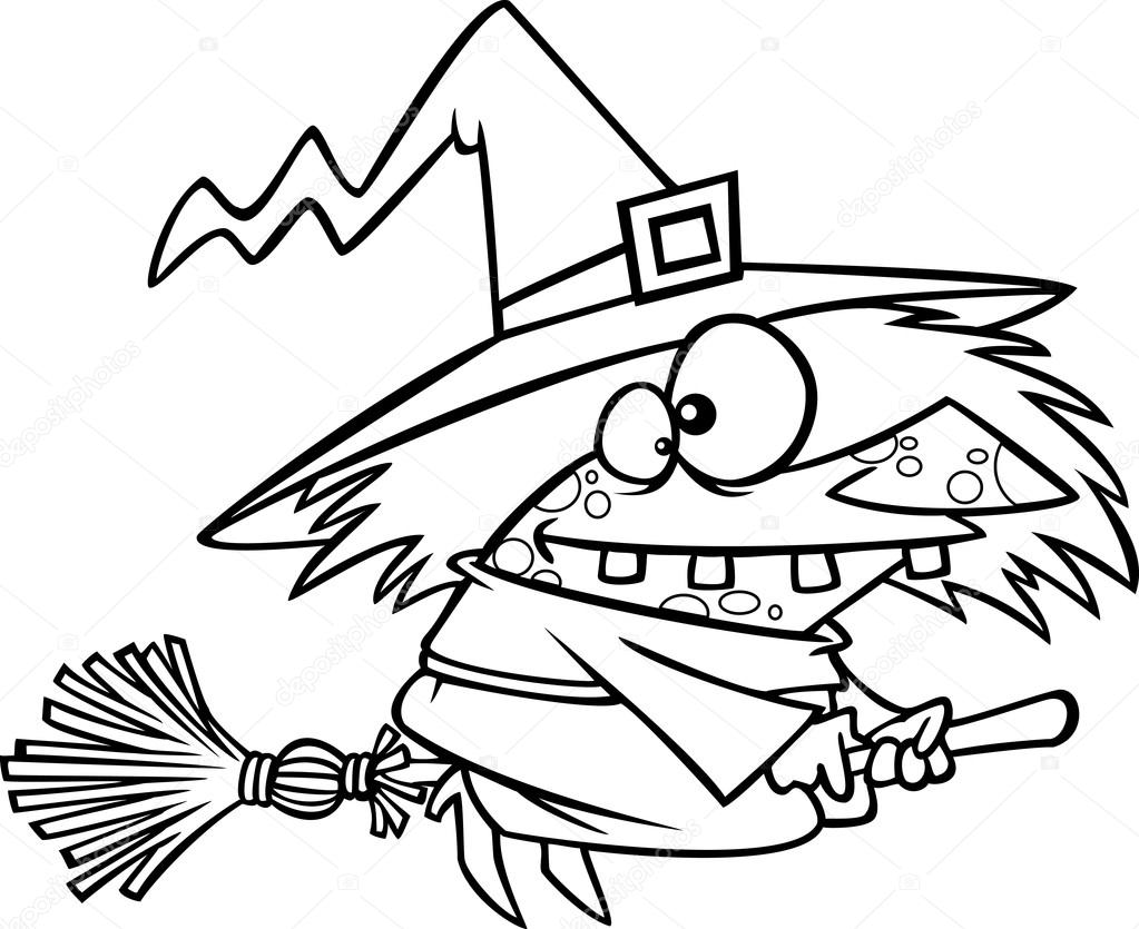 1023x835 Vector Of A Cartoon Warted Witch On Her Broomstick