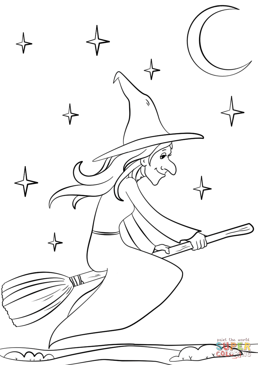 849x1200 Witch Riding Broomstick Coloring Page Free Printable Coloring Pages