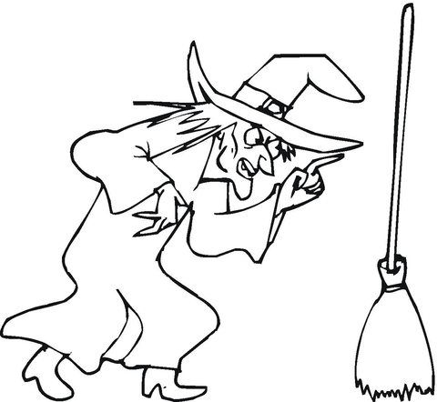 480x442 Witch And Her Broom Coloring Page Free Printable Coloring Pages