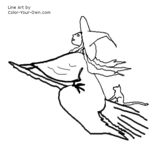 500x500 Witch On A Broomstick Coloring Page