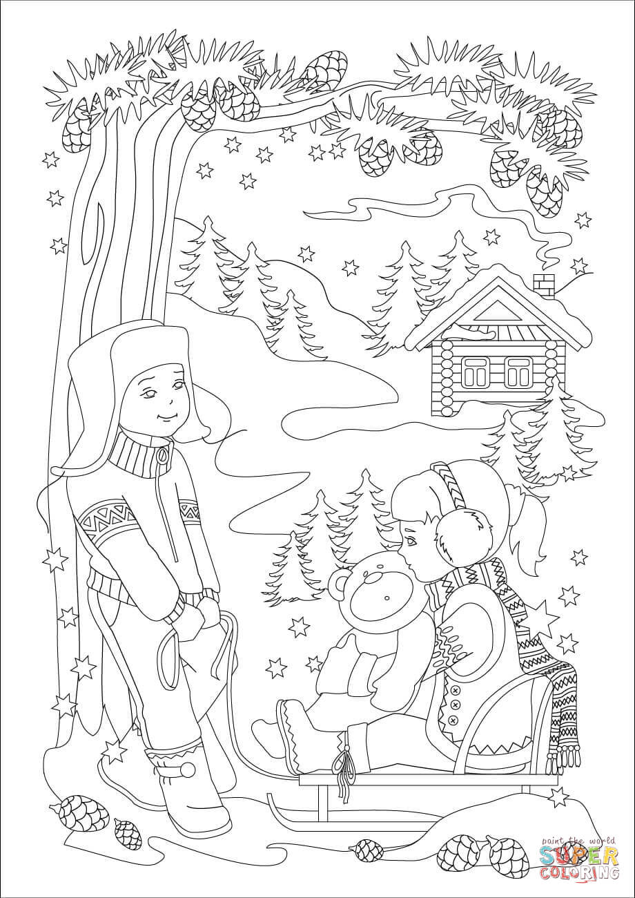 920x1300 A Little Brother Is Pulling A Little Sister On A Sled Coloring