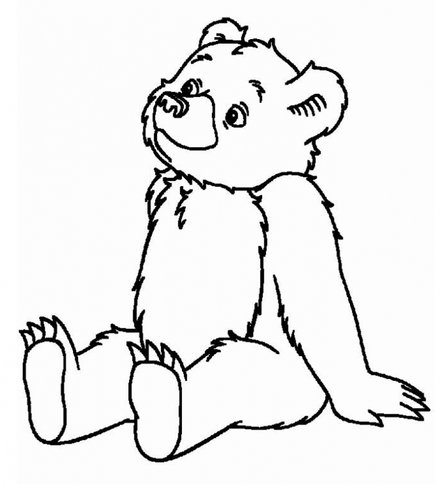 870x960 Brown Bear Coloring Pages