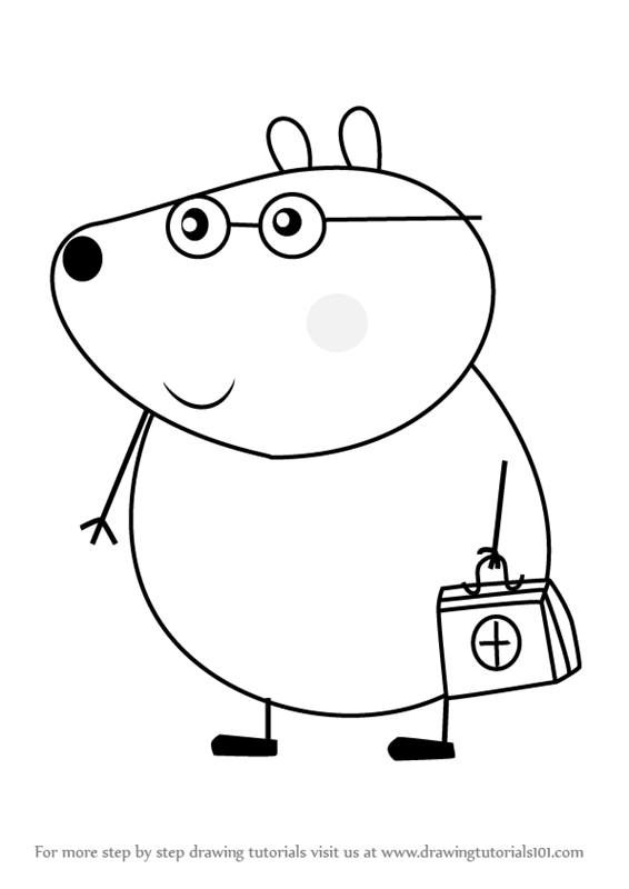 566x800 Learn How To Draw Dr Brown Bear From Peppa Pig (Peppa Pig) Step By