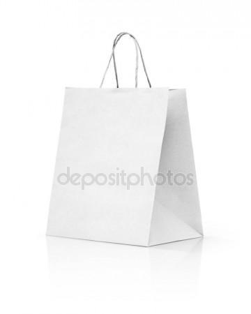 360x450 Paper Kraft Shopping Bag Isolated On White Background Stock