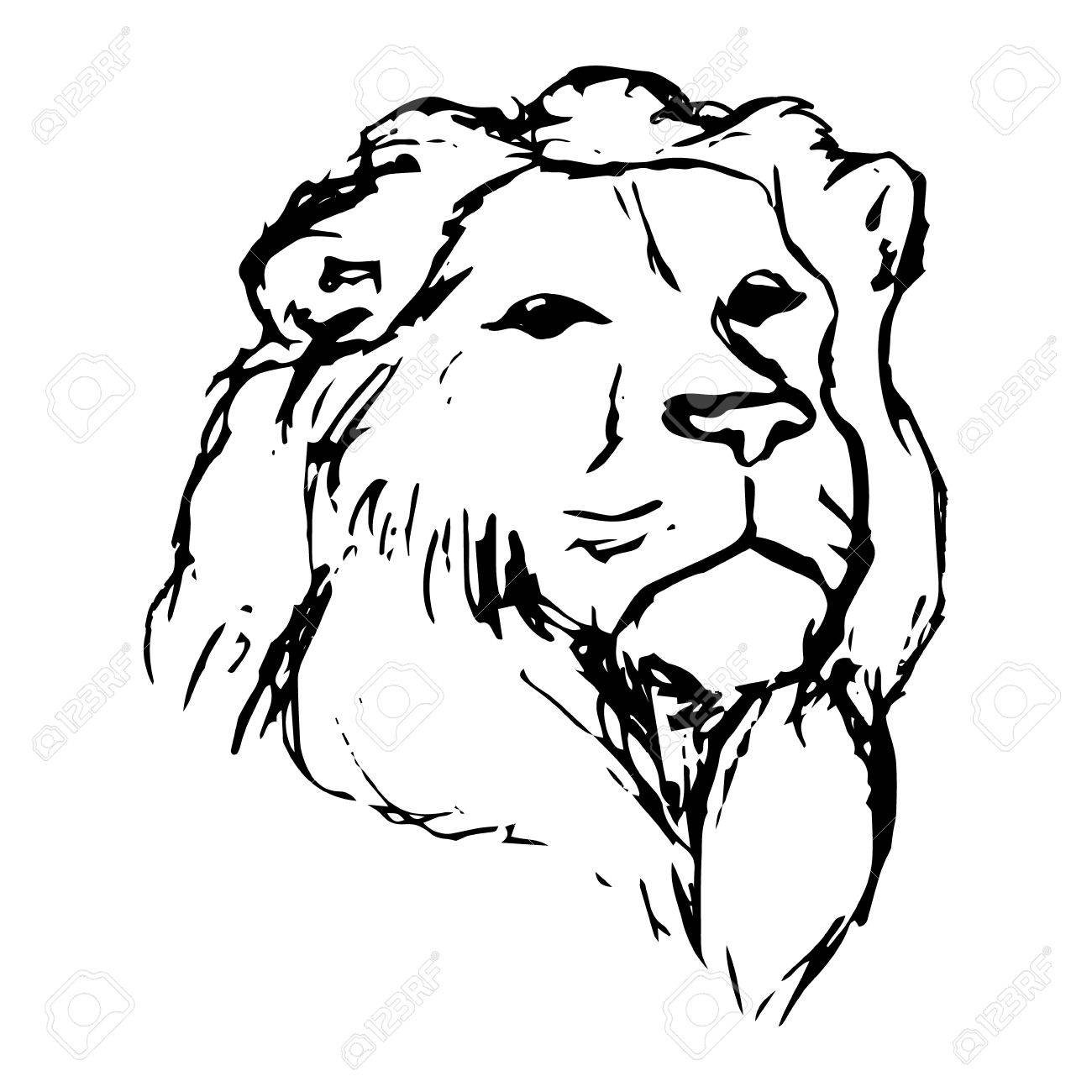 1300x1300 Graphic Image Of A Lion. Lion Head On White Background, Abstract