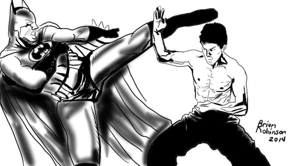 1024x578 Batman Vs Bruce Lee Digital Drawing By Brianrobinson