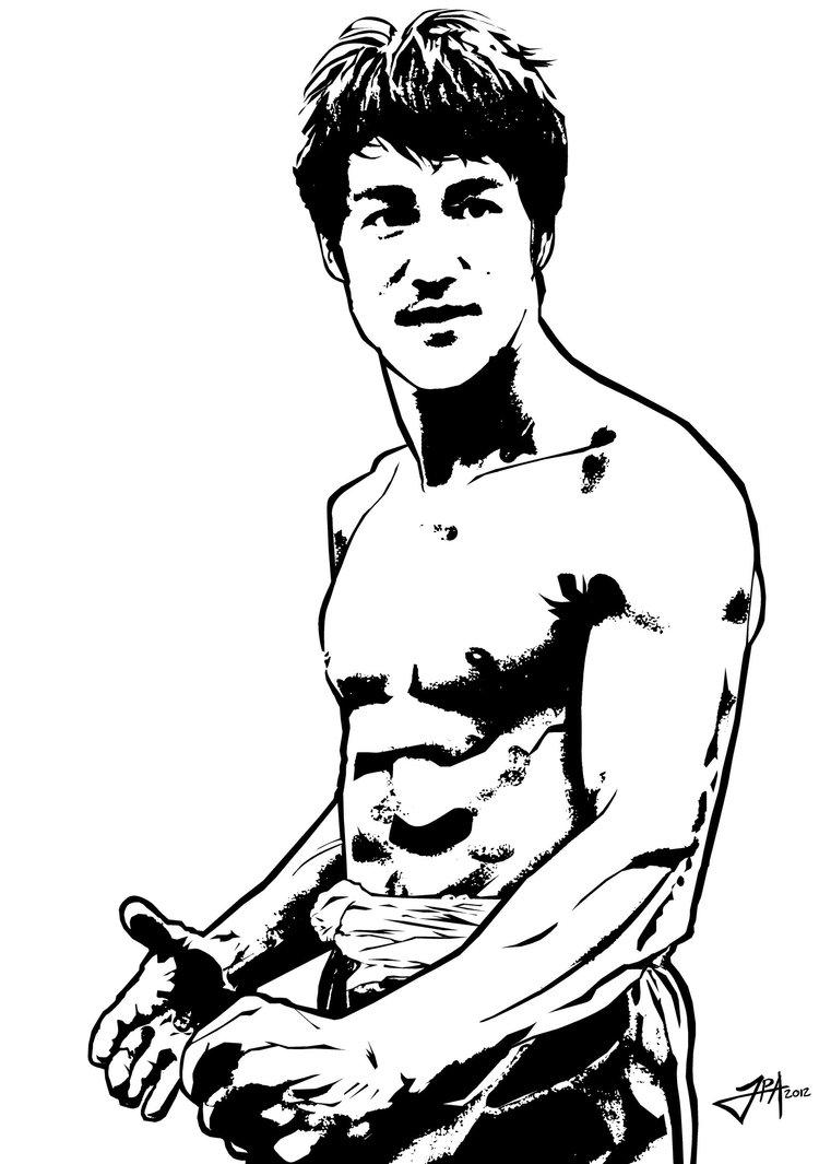 750x1065 Blackwhite Vector Portrait Of Bruce Lee Graphic Inspiration
