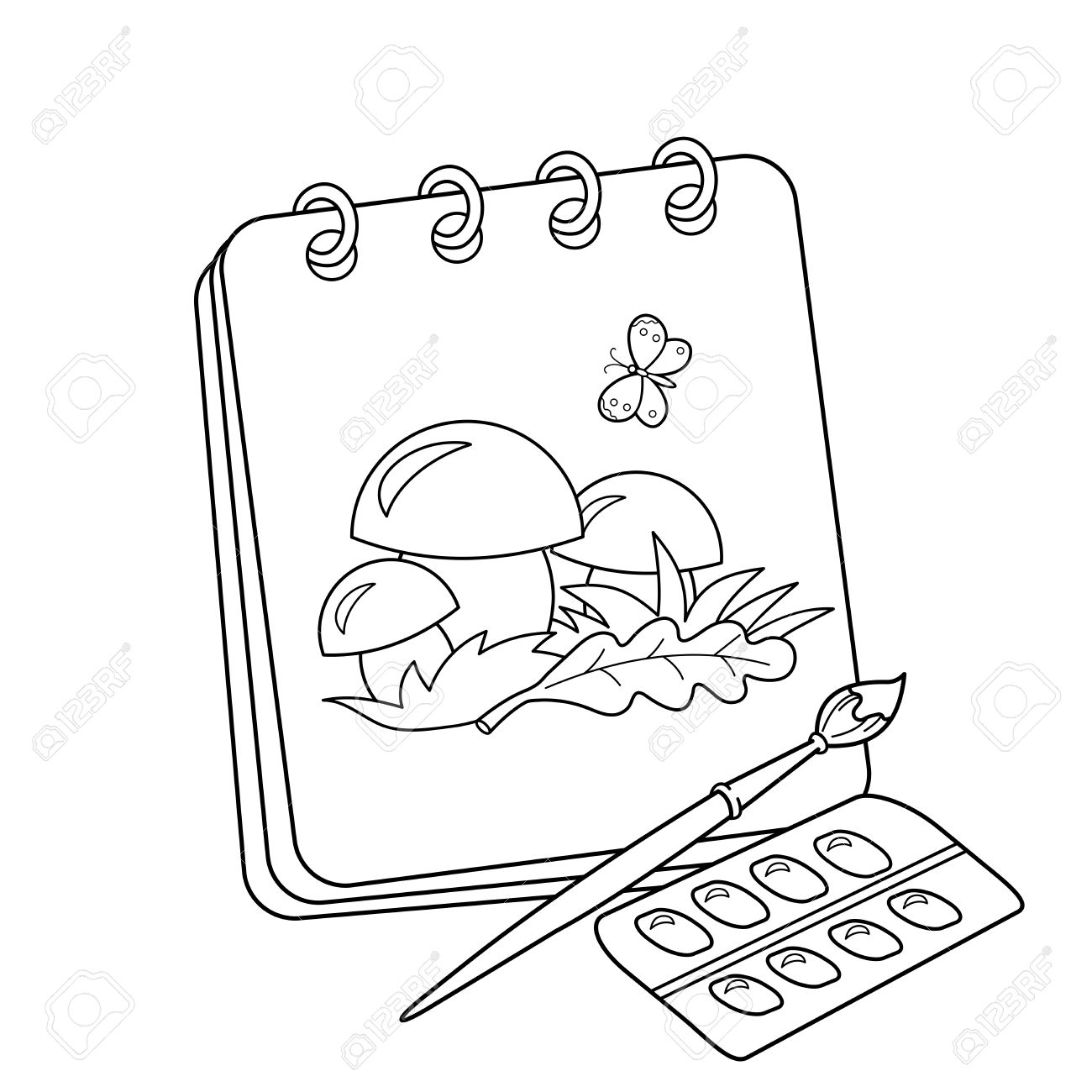 1300x1300 Coloring Page Outline Of Cartoon Album Or Sketchbook With Brush