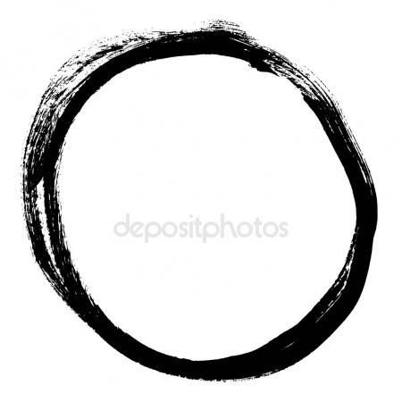 450x450 Black Brush Stroke Form Circle Drawing Created Ink Sketch Handmade