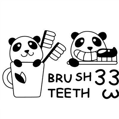 400x400 Cartoon Brush Tooth Wall Art Mural Decal Decor Washing Room Wash