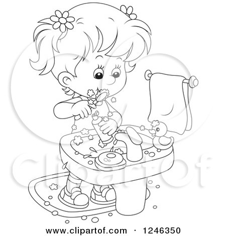 450x470 Clipart Of A Black And White Girl Brushing Her Teeth