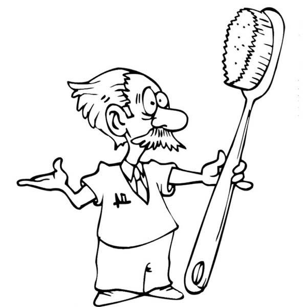 600x600 Dentist Teach How To Brush Teeth In Dental Health Coloring Page