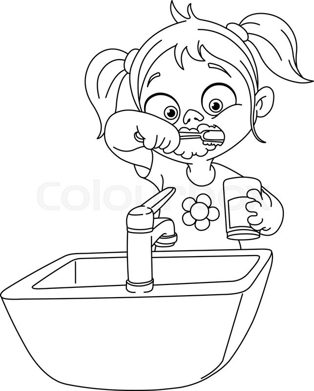 643x800 Outlined Young Girl Brushing Her Teeth. Vector Illustration