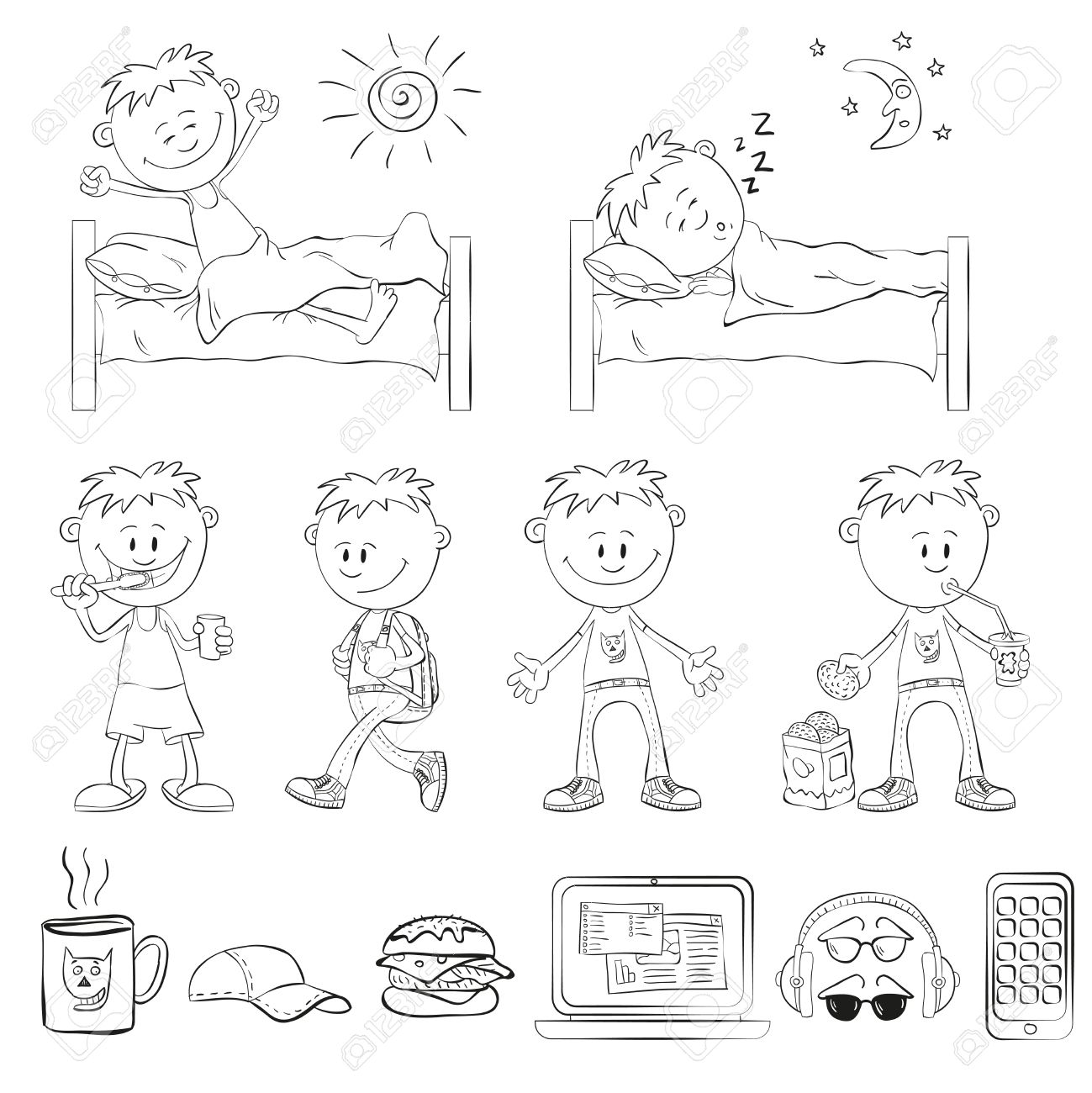 1299x1300 Boy Draw The Outline Of A Sketch Style. The Boy Wakes Up, Sleeping