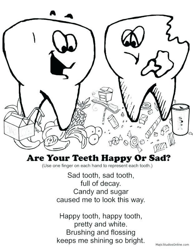 618x800 Teeth Coloring Page Teeth Coloring Pages Happy Tooth Sad Brush