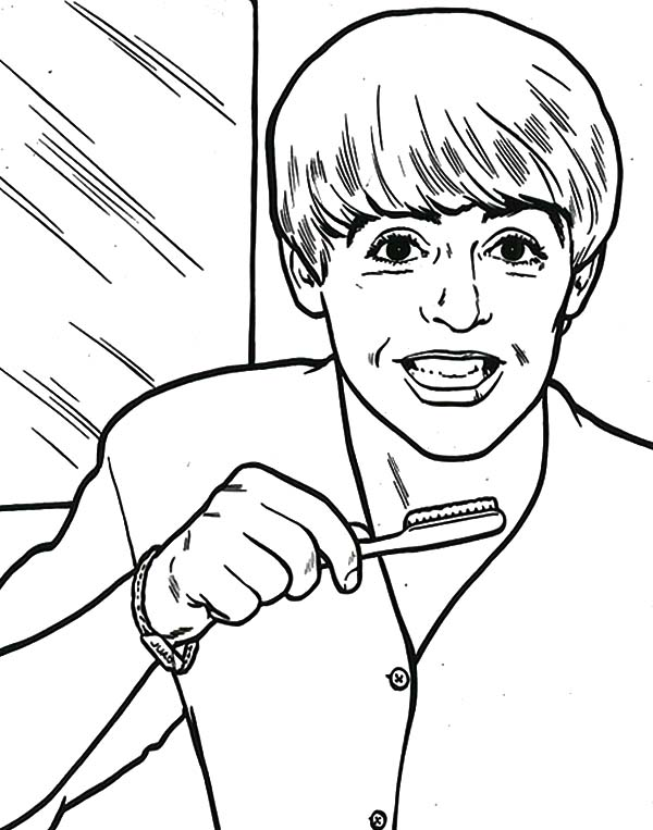 600x763 The Beatles Paul Brushing His Teeth Coloring Pages Batch Coloring