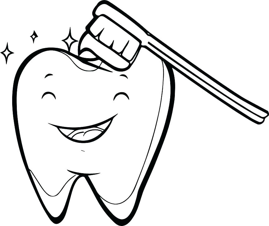 863x723 Tooth Color Page Teeth Brushing Coloring Pages Happy Tooth Brush
